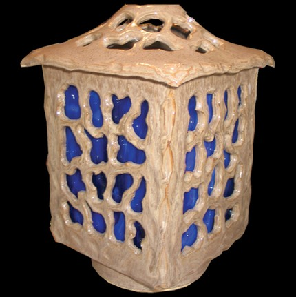 Blue Stained Glass Lantern